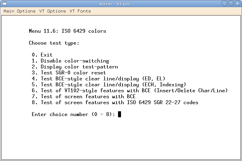 Menu for ISO 6429 Color Tests