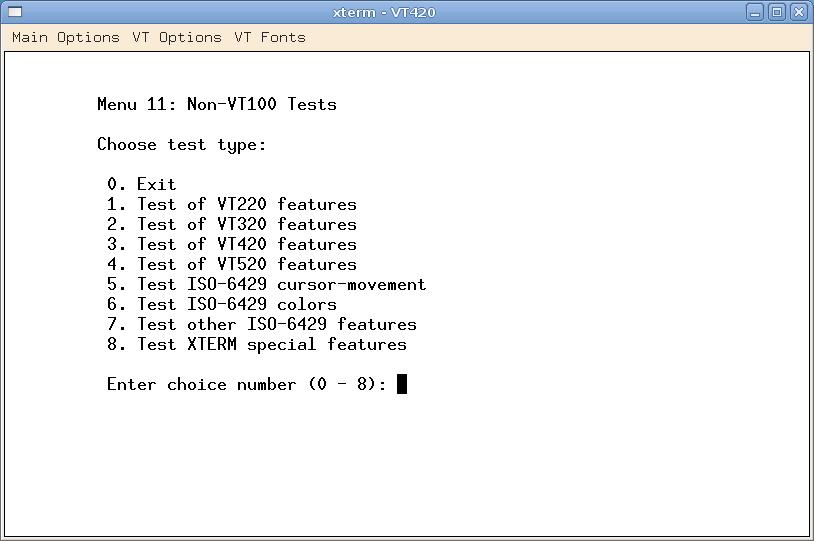 VTTEST – VT100/VT220/XTerm test utility