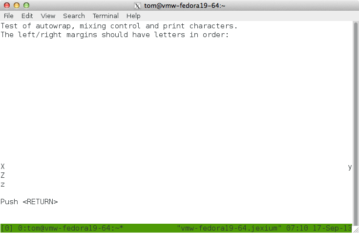 Example of tmux in VTE